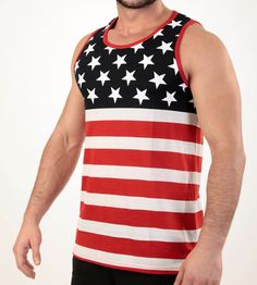 07a8744c462 Mens American Flag Tank Top Stars and Stripe Shirt Red White and Blue