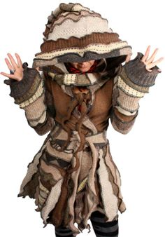 "''Within This Strange And Quickened Dust'' - XL Within This Strange And Quickened Dust is a wonderfully woolly collage of subtle patterns, like a desert sandstorm. It is a wrap-style coat and has a double tie front and an extra-long hood.  Bust: 42""  Length: 40""  Size: XL $380 ***This will be for sale on Thursday, 2/27 at 9PM New York Time in my Etsy shop. www.katwise.etsy.com***"