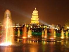 Big WIld Goose Pagoda Fountain Show in Xi'an