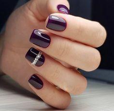 Beautiful purple nails Evening dress nails Nail designs for short nails Nails with stones Purple short nails Violet nails Square Nail Designs, Short Nail Designs, Best Nail Art Designs, Violet Nails, Purple Nails, Gel Nails, Manicure, Coffin Nails, Nail Polish