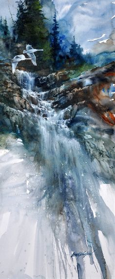 Beautiful Waterfall. The colors reflect the beautfy of nature and fade as the water trickles downwards. Lance Johnson Paintings