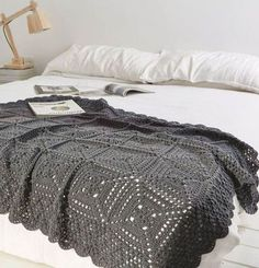Simply Crochet Blanket | Crejjtion #crochet #blanket #monochrome ** Possible Christmas gift **