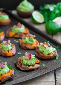 Smashed Sweet Potato Guacamole Bites. The perfect Super Bowl appetizer.