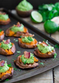 Smashed Sweet Potato Guacamole Bites. The perfect Super Bowl appetizer.