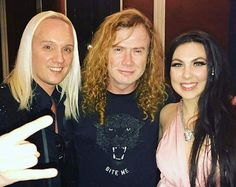 Elize and Olof with the mighty Dave Mustaine at the Revolver Music Awards . @davemustaine @elizeryd @olofmorck @revolvermag #amaranthe #maximalism #davemustaine #megadeth #metal #revolvermusicawards #band #music #newyork #awards #rockmusic