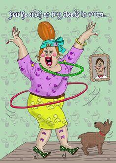 Weer een jaartje ouder maar nog steeds in vorm! Een grappige verjaardagskaart getekend door Ings kaartjes.