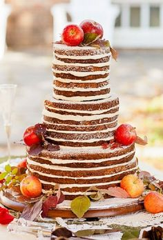 Naked Cake with Apples on top