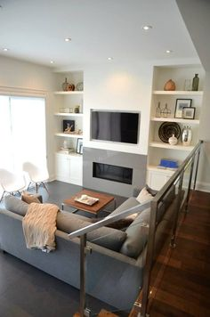9 Prodigious Tips: Living Room Remodel On A Budget Kitchen Updates living room remodel with fireplace french doors.Living Room Remodel Ideas Small Spaces living room remodel before and after paint colors.Living Room Remodel With Fireplace Decor. Tv Above Fireplace, Linear Fireplace, Basement Fireplace, Fireplace Built Ins, Fireplace Shelves, Home Fireplace, Fireplace Remodel, Fireplace Design, Cottage Fireplace