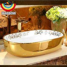 Online Shop أوروبا نمط اليدوية زهرة شكل حوض الحمام بالوعة الحمام كونترتوب السيراميك Aliexpress Mobile Vessel Sink Wash Basin Vessel Sink Bathroom