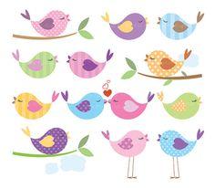Bird Clip Art Animal Clipart Digital Cute Love Pastel Pink Baby Bird Commercial Personal Use Scrapbook Teacher Supplies DIY Shower 10443