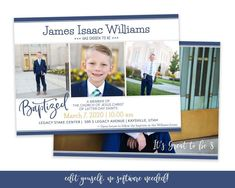Getting ready for your son's special day? This classic baptism invitation only takes minutes to customize! The design is sure to highlight your son's baptism photos. Save time getting ready for his special day with this easy to use baptism template. You can easily edit the text, add your photos and Baptism Program, Baptism Invitations Girl, Lds, Baptism Announcement, Baptism Photos, Boy Baptism, Baptism Ideas, Christening, Christmas Card Template