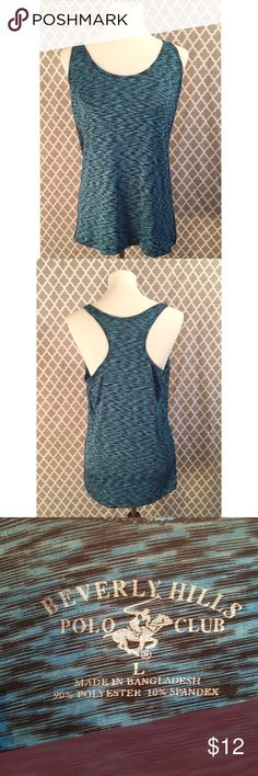 🚴♀️ Beverly Hills Polo Club Top - Size L 🚴♀️ Beverly Hills Polo Club Racerback Workout Top - Size L -- teal & black blend - worn once.    * Excellent condition!  * Very gently used  * Smoke-free home  * I would be happy to take specific measurements on request.  * No offer refused! 😀 Will either accept or counter * Combine shipping and receive 30% discount when you bundle 3 items! Beverly Hills Polo Club Tops Tank Tops