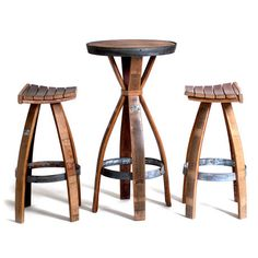Wine Barrel Bar Set // One Table + Two Stools