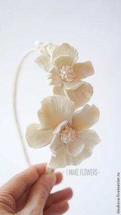 Свадебный ободок с фантазийными орхидеями. Handmade.