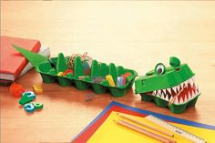 Krokodil aus Eierkartons basteln -> Upcycling Tipp bei GEOlino.de!