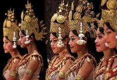 Apsara goddesses - Apsara goddesses performing during a traditional dance show in Siem Reap, very close to Angkor site, Cambodia.