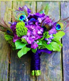 Vibrant Peacock Wedding Colors - Wedding Bouquet. http://simpleweddingstuff.blogspot.com/2014/12/vibrant-peacock-wedding-colors.html