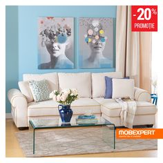 O canapea cu forme generoase pe timp de zi și un pat confortabil pe timp de noapte. #canapea #living #mobexpert Sofa, Couch, Winter Sale, Gallery Wall, Home And Garden, Living, Furniture, Design, Home Decor