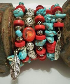 Southwest wrap bracelet  - Boho cuff  - Turquoise & coral - Stack bangle multi strand - Feather charms - One of a Kind bycat