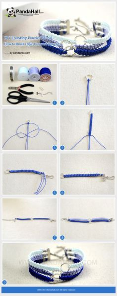 DIY Friendship Bracelet Tutorial - How to Braid Triple Paracord Bracelets from pandahall.com
