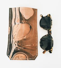 Hand-Dyed Marbled Leather Sunglasses Case by Molly Virginia Made on Scoutmob
