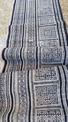 Handwoven Hmong Batik  Vintage hemp and cotton fabric,  textiles and fabrics- Table runner,