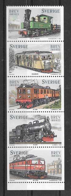 Colección sellos trenes  antiguos de Suecia