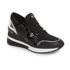 Women's Michael Michael Kors Scout Wedge Sneaker (44 KWD) ❤ liked on Polyvore featuring shoes, sneakers, black star, cutout sneakers, cut-out sneakers, wedge shoes, black shoes and star sneakers