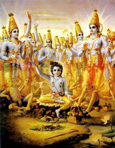 Hindu Art: Krishna Expands Himself as Cowherd Boys Hare Krishna, Krishna Lila, Krishna Radha, Lord Krishna Images, Radha Krishna Pictures, Lord Vishnu, Lord Shiva, Iskcon Krishna, Brahma
