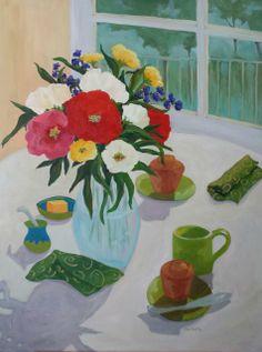 Morning Tea 40x30 by Nancy Noel May - Spectrum Art & Jewelry   Art Galleries in Wilmington NC #flowers #breakfast #painting