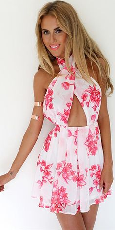 Sexy Backless Floral Print Halter Chiffon Jumpsuits