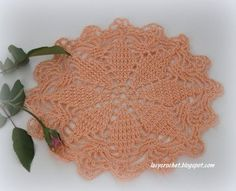 Lacy Crochet: Small Peach Doily and Vintage Tablecloth Pattern English free written can use to make small rug