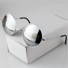 Fashion Vintage Round Sunglasses For Women Men Brand Designer Mirrored Glasses Retro Female Male Sun Glasses Men's Women's Pixel Like and Share if you want this #shop #beauty #Woman's fashion #Products #Classes