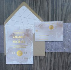 These Geometrical Gold Foil and Watercolor Wedding Invitations are the perfect modern look!
