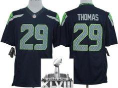 Nike Seattle Seahawks 29 Earl Thomas Blue Game LIMITED 2014 Super Bowl XLVIII NFL Jerseys