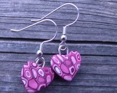 Unique Heart Polymer Clay Earrings  by clayandbeads4me on Etsy, $5.00