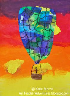 1st Grade Balloons, analogous colors, warm and cool colors, tissue paper collage and painting.