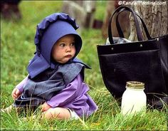 Amish baby. Drinks milk from glass jars of milk. Is awesome.