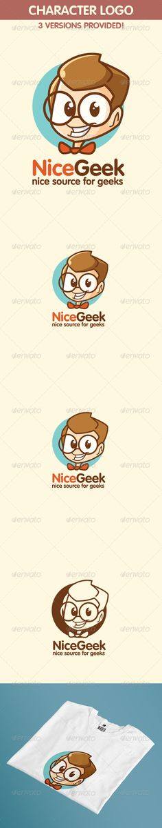 This Geek Boy Logo is a very usable for every business! this Character Logo represent playful and calm feel! suitable for kids logo & kids related company or geek shop!   All instructions and font link included in README file     Created: 6September13 GraphicsFilesIncluded: VectorEPS #AIIllustrator Layered: Yes MinimumAdobeCSVersion: CS Resolution: Resizable Tags: brown #calm #cartoon