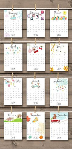 PRINTABLE 2018 & 2017 calendar 2018 Wall calendar Desk