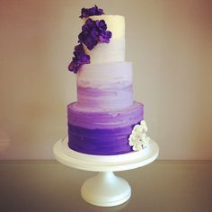 Purple ombre buttercream with sugar hydrangeas. Love. OH