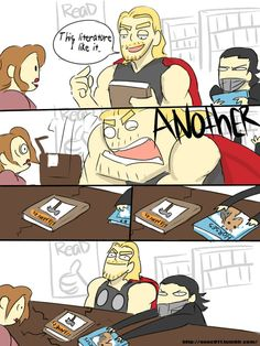 Thor and Loki in the bookstore