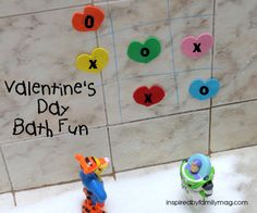 Valentine's Day Bath fun! Heart Tic Tac Toe and...
