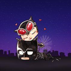 Gata e morcego by bua Batman Cartoon, Batman Comics, Funny Comics, Batman Hush, Batman And Catwoman, Catwoman Character, Cute Batman, Harley Quinn Drawing, Dark Love