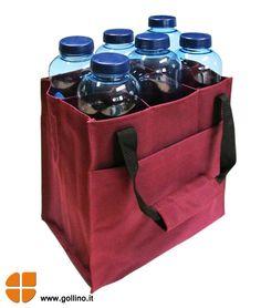 Porta a casa la tua acqua con la pratica borsa porta bottiglie. www.gollino.it