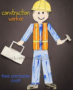 Printable Construction Worker Craft | LearnCreateLove.com