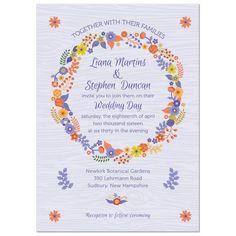 Rustic purple wood floral wreath wedding invitation