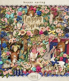 Happy Spring Happy Spring, Spring Flowers, Beautiful Day, Deer, Shabby, Scrapbooking, Diy Projects, Fantasy, Painting