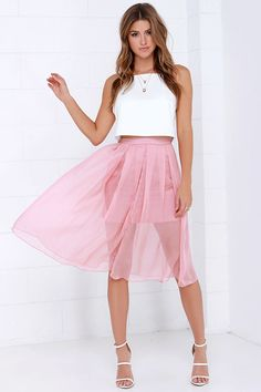 I Believe in Fairy Tales Dusty Rose Midi Skirt at Lulus.com!