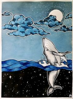 Space Whale, Watercolor and Ink, : Art - Aquarell - Space Watercolor, Watercolor Whale, Watercolor And Ink, Watercolor Paintings, Whale Drawing, Whale Painting, Whale Illustration, Watercolor Illustration, Space Whale